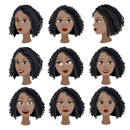 black hair: Set of variation of emotions of the same black girl. She is remembering, thinking, sad, dreaming, angry, surprised, outraged, smiling. She have short curly hair