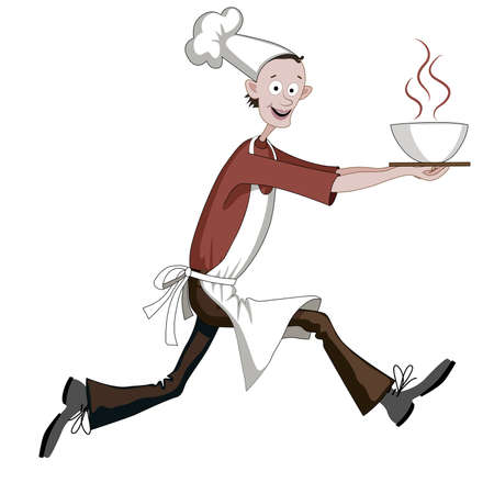 Cartoon cook running fast with dish, he is cheerful