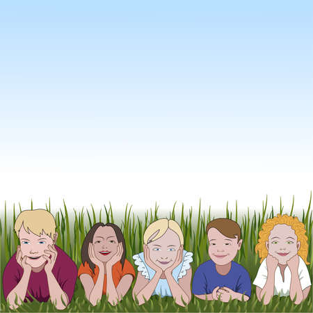 elbows: Five young children leaning on they elbows on grass and space for text above Illustration