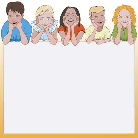 Five young children leaning on they elbows and space for text below