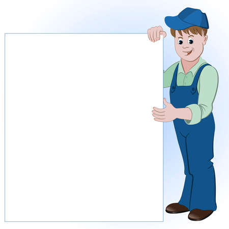 workman: The workman or handyman standing with list of space for text