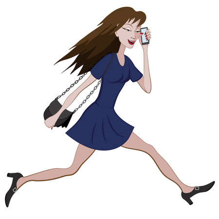 business phone: Cartoon girl running hurriedly with a bag and phone in hand