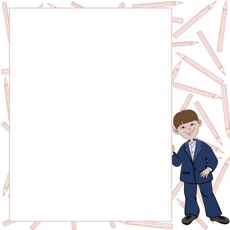 Student boy with list of space for text Banco de Imagens - 47831857