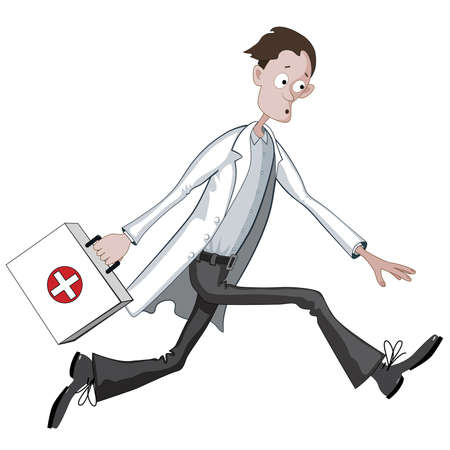hospital gown: Cartoon doctor running hurriedly with case or bag Illustration