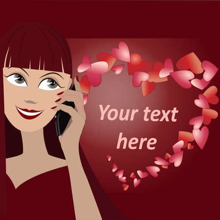 Vector background with face of girl speaking by phone and many hearts in shape of heart Banco de Imagens - 47834101