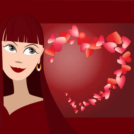 Vector background with cute face of girl and many hearts in shape of heart