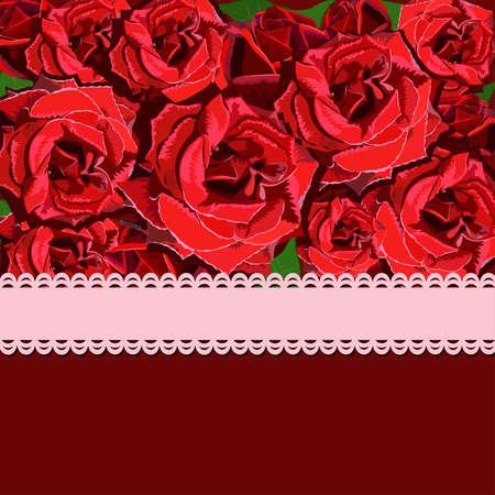 Floral background of red rose with pink ribbon. Floral copy-space Ilustração