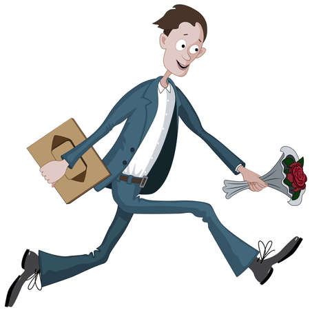 Cartoon man running hurriedly with box of chocolates and flower in hand to date Ilustração