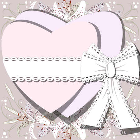 Two white hearts tied by ribbon with bow on background of blossoming lilia flowers Ilustração