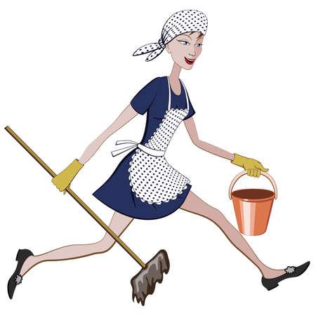 Cartoon Putzfrau läuft mit einem Eimer und Wischmopp in der Hand