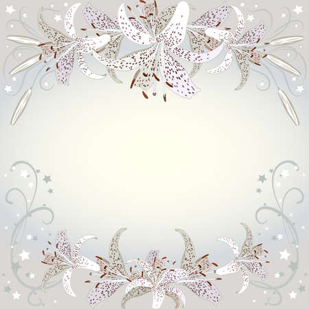copyspace: Floral background of white lilia flowers.  Floral copy-space Illustration