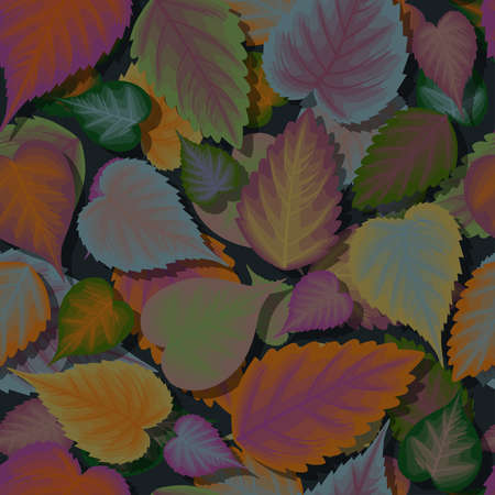 Seamless background of colorful leaves with shadow Ilustração