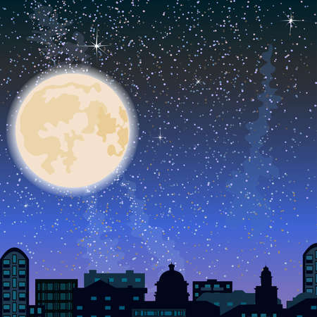 City skyline at night, buildings and big moon