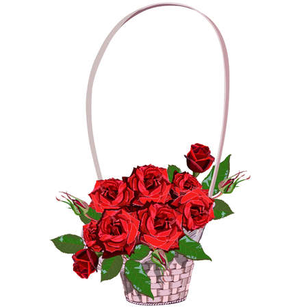 Wicker floral basket with red roses
