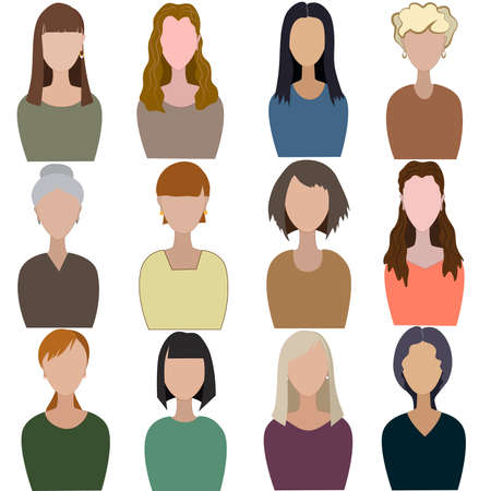 Set of abstract women Ilustração