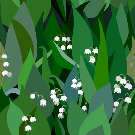 lily of the valley: Seamless background from bunch of blossoming  lilies of the valley flowers and leaves