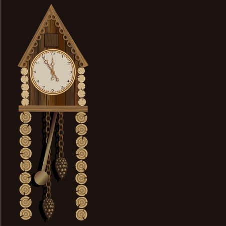 Old wooden clock with a pendulum