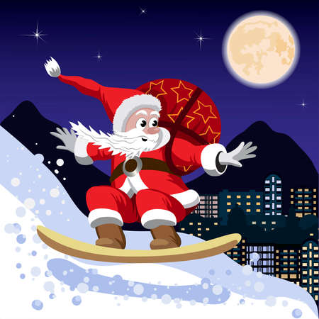 Santa Claus carrying a bag of gifts on a snowboard Ilustração