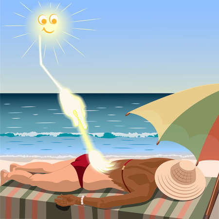 lies: Sun creates tan for woman who lies on the beach. Sun draws suntan