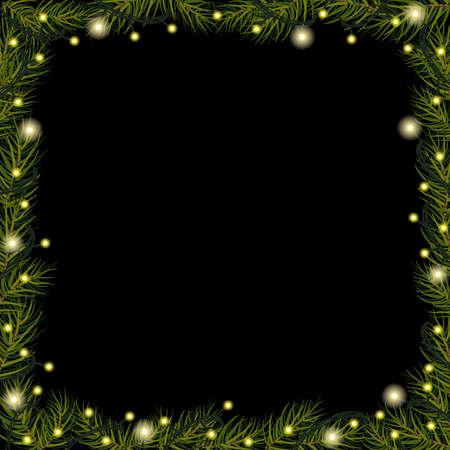Christmas lights on spruce (fir) branches on black background. Border Ilustração