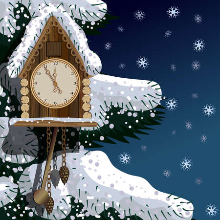 Old wooden clock with fir tree and snow Banco de Imagens - 53084950