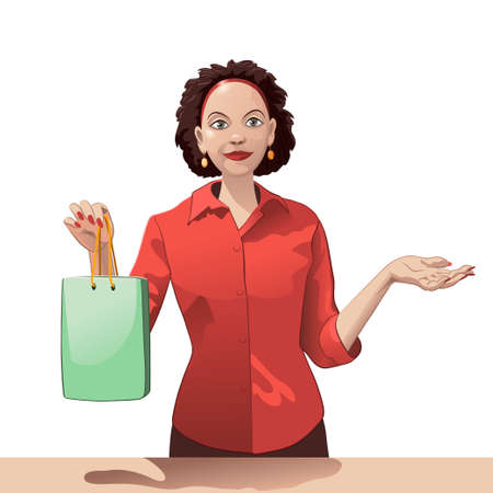 Smiling girl sales clerk holding a shopping bag and offers products Ilustração