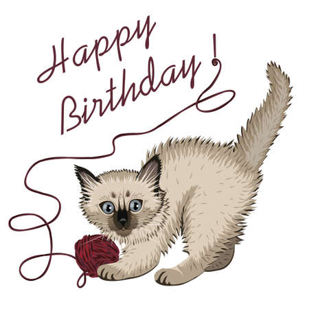 Kitten plaing with ball of wool and happy birthday Banco de Imagens - 79335082