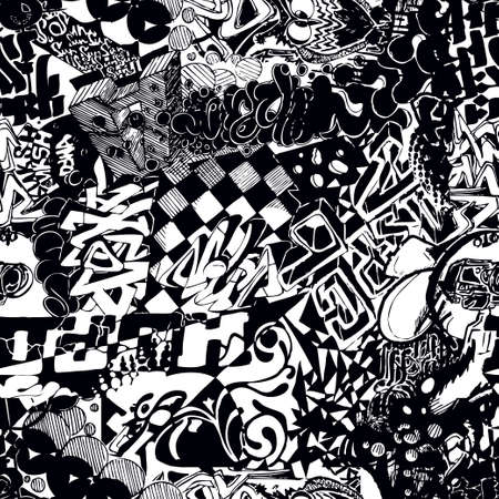 Black and white seamless pattern graffiti, sticker bombing Ilustração