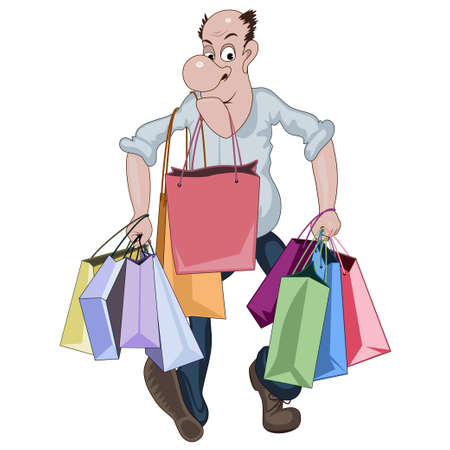 Cartoon man walking with a lots of shop bags