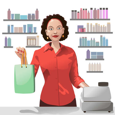 saleslady: Smiling girl sales clerk holding a shopping bag and offers products over background of showcase