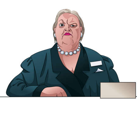 Gloomy lady registrar or inspector behind the counter Stock Illustratie