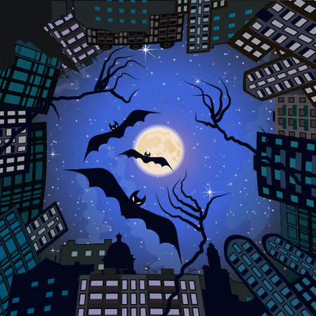 Skyline in form of circle with moon at center. Background suitable for Halloween. Ilustração
