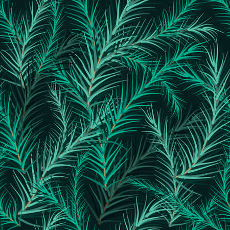 Christmas tree fir branch background. Seamless vector illustration.
