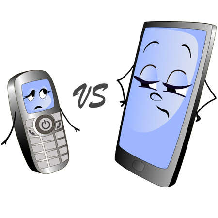 Illustration of two cell phones.Character of old push-button phone confronts with a character of a modernsmart phone.