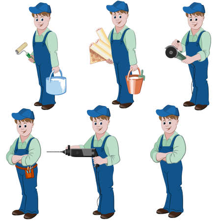 Set of decorator or handyman with equipment for repair such as wallpaper, basket, glue, angle grinder, perforator, saw.