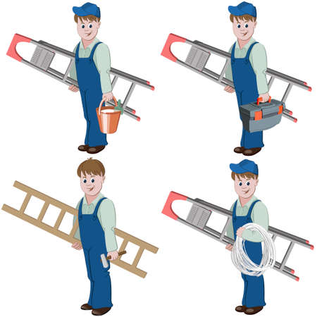 Set of decorator or handyman with equipment for repair such as basket of glue, ladder, cable, hammer, toolbox.