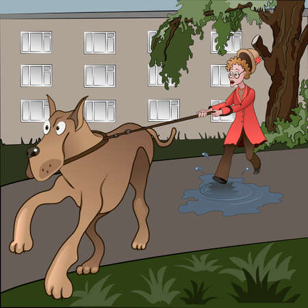 Illustration of old woman trying to walk with big dog on the sidewalk. Illustration