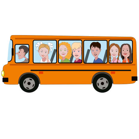 Faces of boys and girls are seen from the windows of the yellow bus.