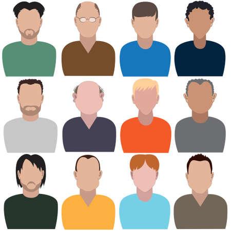 Conjunto de hombres abstractos sin rostros. Ilustración de vector
