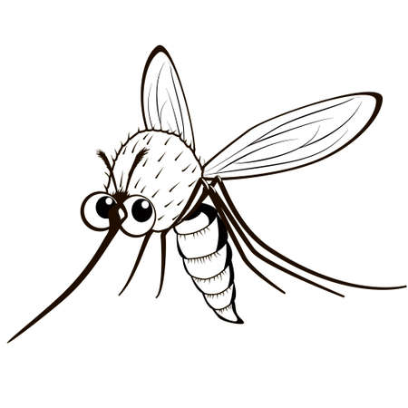 Cartoon monochrome mosquito. Black and white comical flying gnat. Illustration
