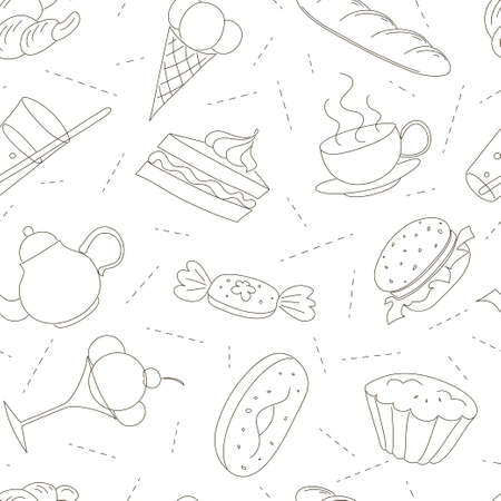 Drawing black contours of culinary theme over white background.