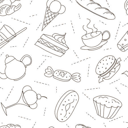 Drawing black contours of culinary theme over white background. Banco de Imagens - 127013527