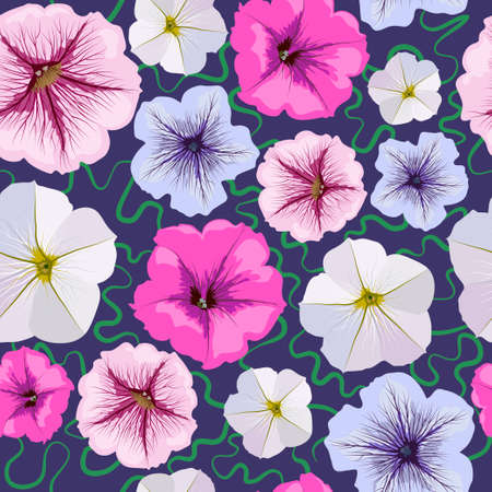 Seamless background from petunia flowers. White, pink, blue, magenta flowers over blue backdrop. Floral pattern. Foto de archivo - 133427734