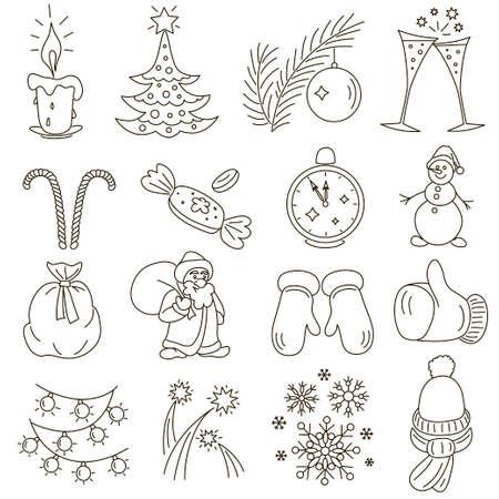 Monochrome hand drawn vector symbols. Ilustração