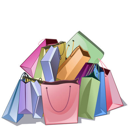Colored pile of paper shop bags over white background. Banco de Imagens - 127013529