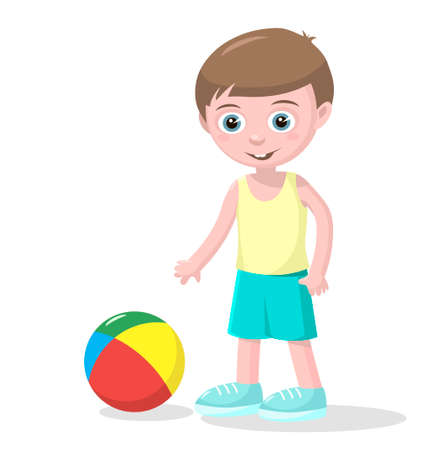 Cute small boy plays color beach ball over white background.