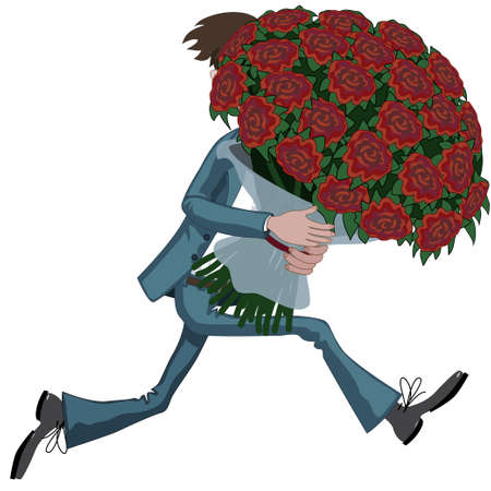 Cartoon man is running hurriedly with huge bouquet of flower in hands to date.