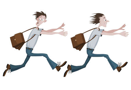 Set of two similar cartoon men with opposite emotions. First man is running fast with bag scared with something, he is looking back and second one is running fast with bag towards something or someone, happy.