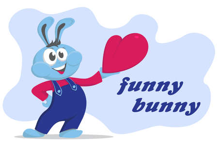 Funny bunny with the heart. A bunny is wearing blue dungarees and holding the heart in his left hand. On the right is the inscription