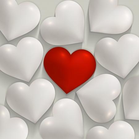 로맨틱 한 흰색과 빨간색 하트 발렌타인 데이 일러스트